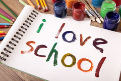 I love school message writing on desk, back to school concept Royalty Free Stock Photo