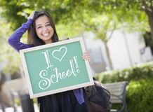 I Love School Mixed Race Female Student Holds Chalkboard Stock Images