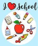 I love school poster with stationary elements. And symbols. Apple, sciccors, glue, paint, brush, pencil Royalty Free Stock Photos