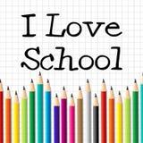 I Love School Represents Education Training And Kid Royalty Free Stock Photos