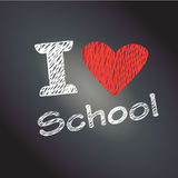 I love School. Script with red heart on black wooden background of chalkboard. Back to school - abstract background. Hand Drawn. Autumn Festive Vector Stock Images