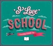 I Love School typographic design. Stock Photos