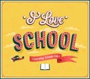 I Love School typographic design. Stock Image