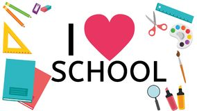 I love School - White Background stock illustration