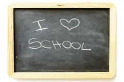 I love school. Written with chalk on blackboard stock photos