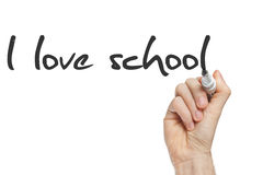 I love school. Written by hand on whiteboard Royalty Free Stock Photo