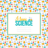 I love science, pattern with square frame, flask and tubes. Royalty Free Stock Photography