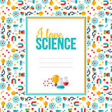 I love science, pattern with square frame Royalty Free Stock Photo