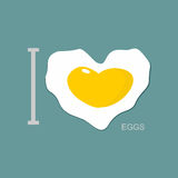 I love scrambled eggs. Scrambled eggs as a symbol of  heart. Fri Stock Image