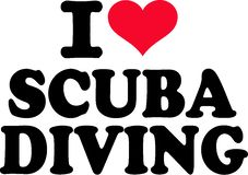 I love scuba diving. Vector illustration stock illustration