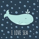 I love sea card with a cute whale. Cute print. For t-shirt and textile design. Vector illustration Royalty Free Stock Photo
