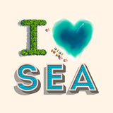 I love sea,  illustration. Royalty Free Stock Photos