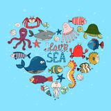 I Love Sea nautical themed design Stock Photo