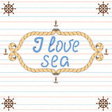 I love sea. Nautical typography poster Royalty Free Stock Photo