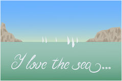 I love the sea postcard landscape. Sea, mountains, sailboats. Vector illustration Royalty Free Stock Photo