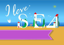 I love sea. Travel card Royalty Free Stock Images