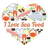 I Love Seafood vector heart design Stock Photo