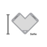 I love selfi. Phone as a symbol of heart. Vector illustration. I Royalty Free Stock Photography