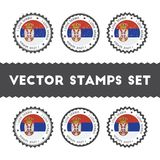 I Love Serbia vector stamps set. Royalty Free Stock Photo