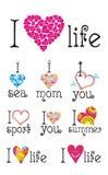 I love. Set of color sentences I love. Vector illustration Royalty Free Stock Images