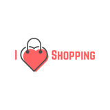 I love shopping with bag like heart Royalty Free Stock Photos