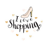 I love shopping. Fashion quote for blog design. Vector hand lettering. Royalty Free Stock Photo