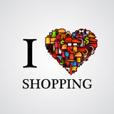 I love shopping, font type with heart sign. Vector illustration royalty free illustration