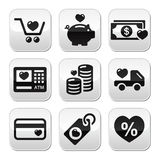 I love shopping, I love money  buttons set Royalty Free Stock Photo