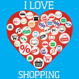 I Love Shopping (icon and concept) Royalty Free Stock Image