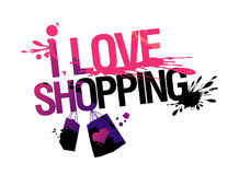 I love shopping illustration. Royalty Free Stock Photo