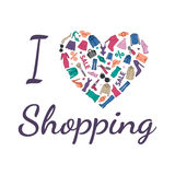 I love Shopping illustration. Heart is composed of fashionable clothes, shoes and accessories. Colorfull on white background Royalty Free Stock Image