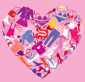 I Love Shopping image, the heart is made of differ Stock Images
