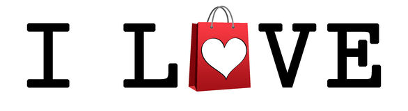 I Love Shopping. Shopping bag and heart Stock Photos
