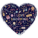 I love shopping, themed design with different elements Stock Images