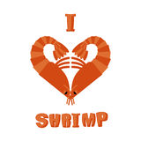 I love shrimp. Symbol of heart of an underwater crustacean anima Stock Photography