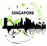I love Singapore poster. Artistic I love Singapore poster with city skyline and local icons silhouetted Royalty Free Stock Photos