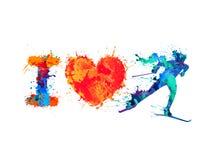 I love skiing. Skier of splash paint. I love skiing. Skier of vector watercolor splash paint stock illustration