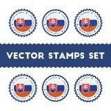 I Love Slovak Republic vector stamps set. Stock Image