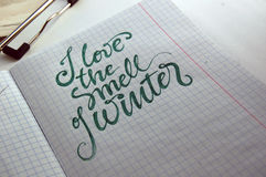 I love the smell of Winter calligraphic background Royalty Free Stock Photo