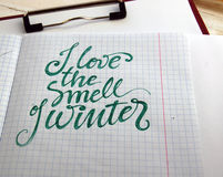 I love the smell of Winter calligraphic background Stock Photography