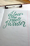 I love the smell of Winter calligraphic background Royalty Free Stock Images