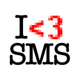 I Love SMS. The < and the 3 make a red heart, like in SMS Stock Photo