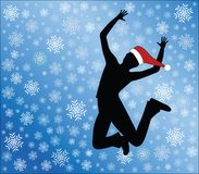 I love snow. Silhouette of person jumping in snow (Santa hat easily removable in vector format Royalty Free Stock Images