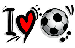 I love soccer. Design of I love soccer graffiti vector illustration