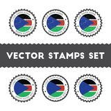 I Love South Sudan vector stamps set. Stock Images