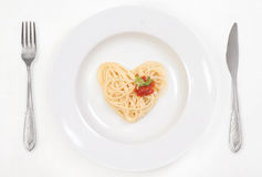 I love Spaghetti!. Heart of Spaghetti whit tomato sauce Royalty Free Stock Photos