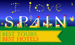 I love Spain Inscription. Holiday houses Font Stock Photo