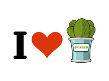 I love spinach. Heart and green leaf lettuce. Tinned greens in t Royalty Free Stock Photography