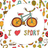 I love sport. Bicycle emblem. Hand drawn doodle sport background Royalty Free Stock Photos