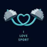 I Love Sport. The rod bent in the shape of a heart. Vector illustration royalty free illustration